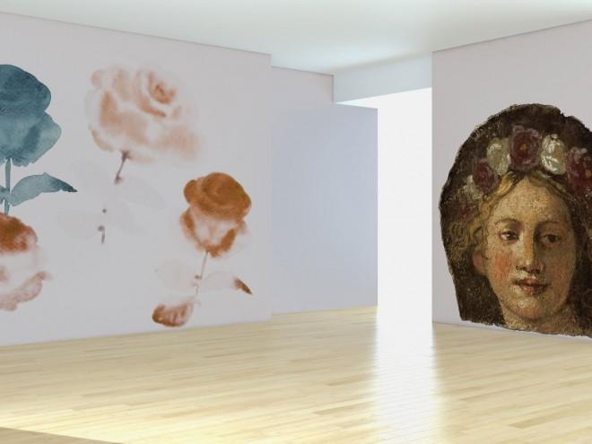 adesivo-rose-affresco-figura-corona-fiori-install